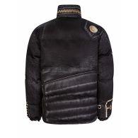 Moschino Black Oversized Zip Printed Puffer Jacket