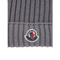 Moncler Enfant Grey Wool Bobble Hat