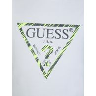 GUESS White Logo Print Crop Top