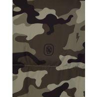 Neil Barrett Green Camouflage Shearling Zip-Up Puffer Jacket