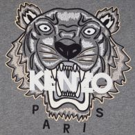 KENZO Grey Embroidered Tiger Hoodie