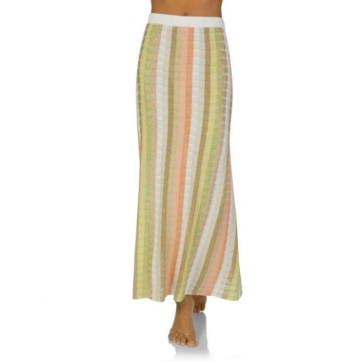 Ruth Erotokritou White/Gold Stripe Maxi Skirt