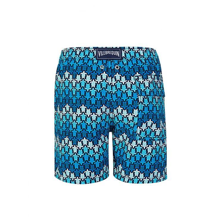 Vilebrequin Junior Blue Herringbones Turtles Swim Shorts