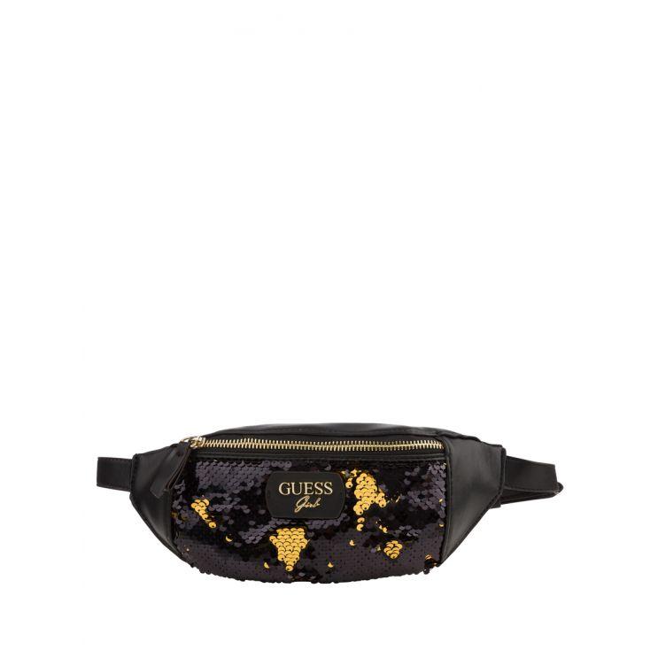 GUESS Kids Black Reversible Sequins Logo Waist Bag