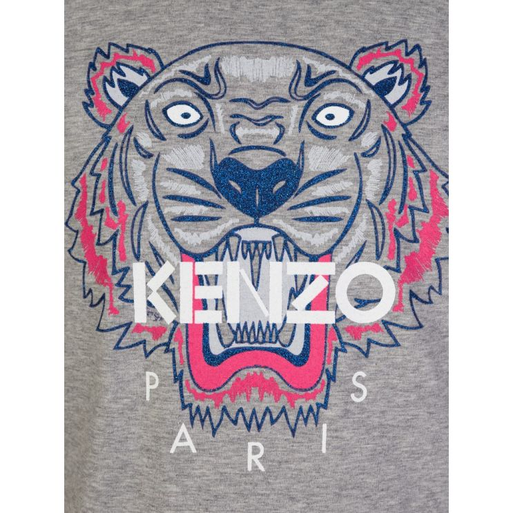 KENZO Kids Grey Tiger Print Long Sleeve T-Shirt