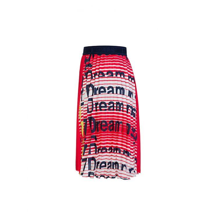 MSGM Kids Red/White Pleated Logo Skirt