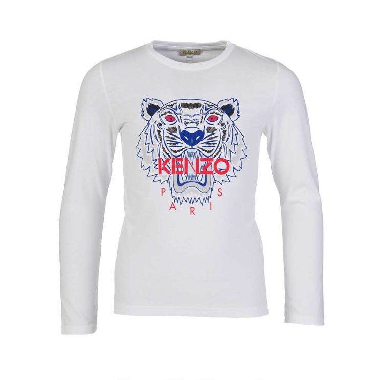 KENZO Kids White Tiger Long Sleeve T-Shirt