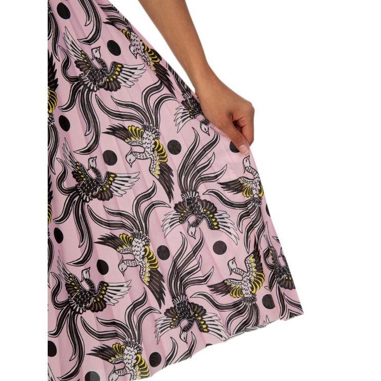 KENZO Pink Printed Pleated Asymmetric Midi Skirt