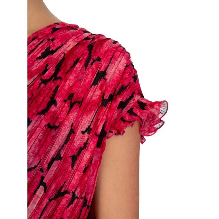 KENZO Fuschia Pleated Peonie Dress