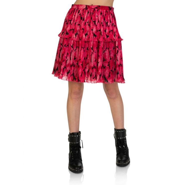KENZO Fuschia Peonie Pleated Mini Skirt