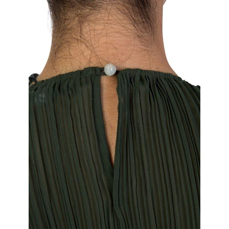 KENZO Green Pleated Blouse