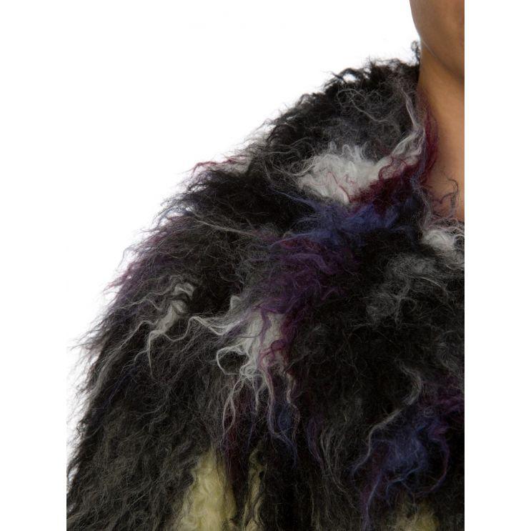KENZO Grey Multicoloured Faux Fur Coat