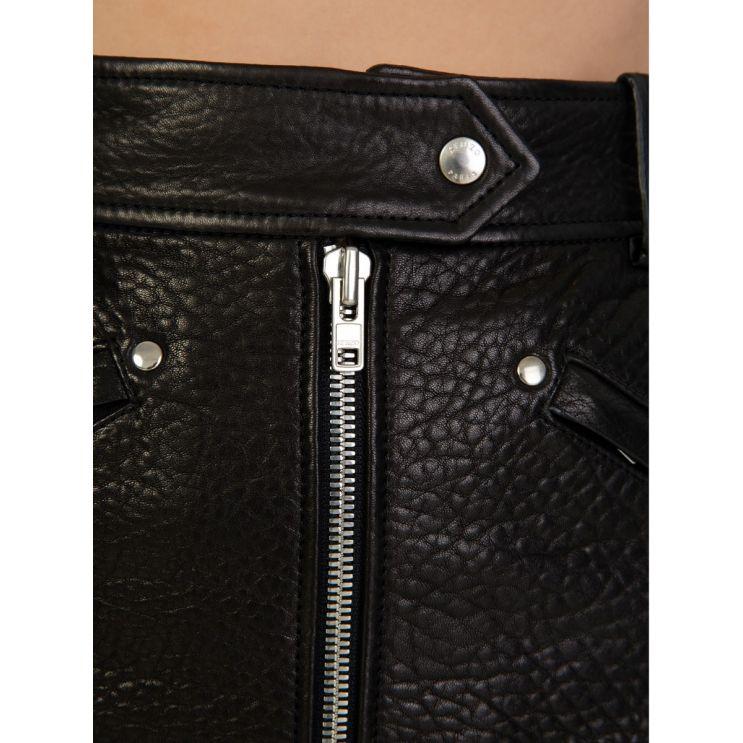 KENZO Black Leather Zip A-Line Skirt