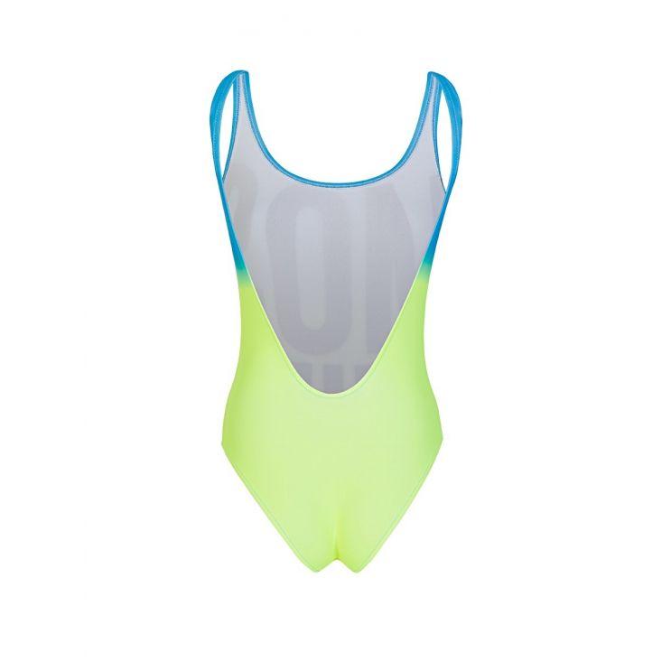 Moschino Blue/Yellow Logo Print Swimsuit