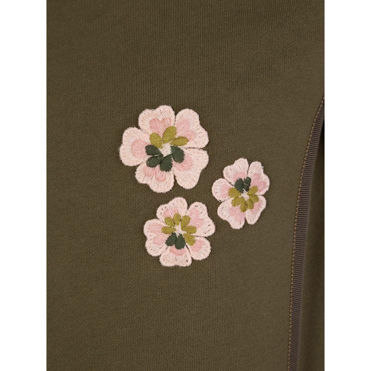 Moncler Enfant Green Flower Frill Dress