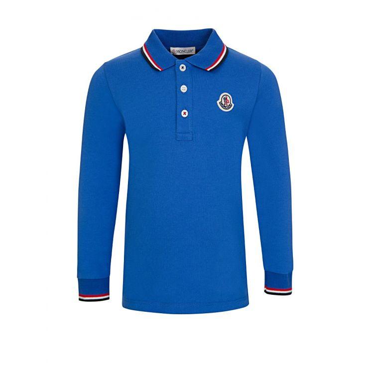 Moncler Enfant Blue Tip Polo Shirt