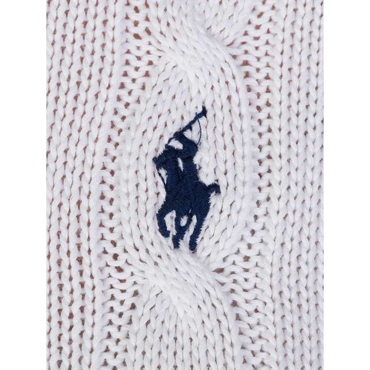 Polo Ralph Lauren White Cable Wool Jumper