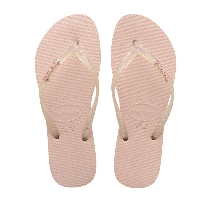 Havaianas Pink Slim Logo Metallic Flip Flops