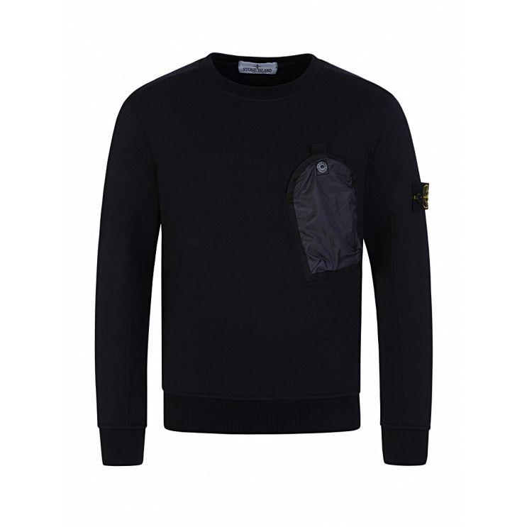 Stone Island Junior Navy Chest Pocket Sweatshirt