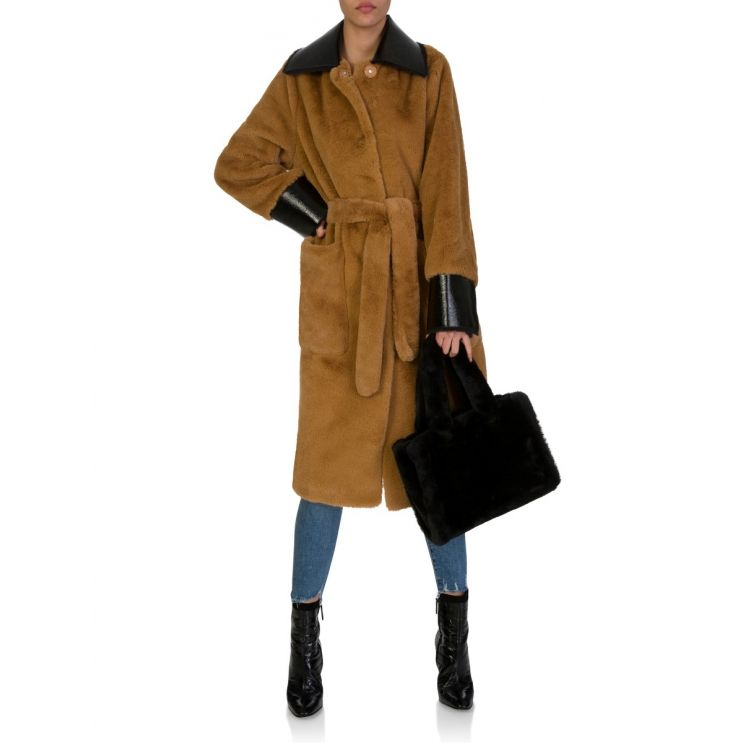 Stand Studio Brown Faux Fur Coat