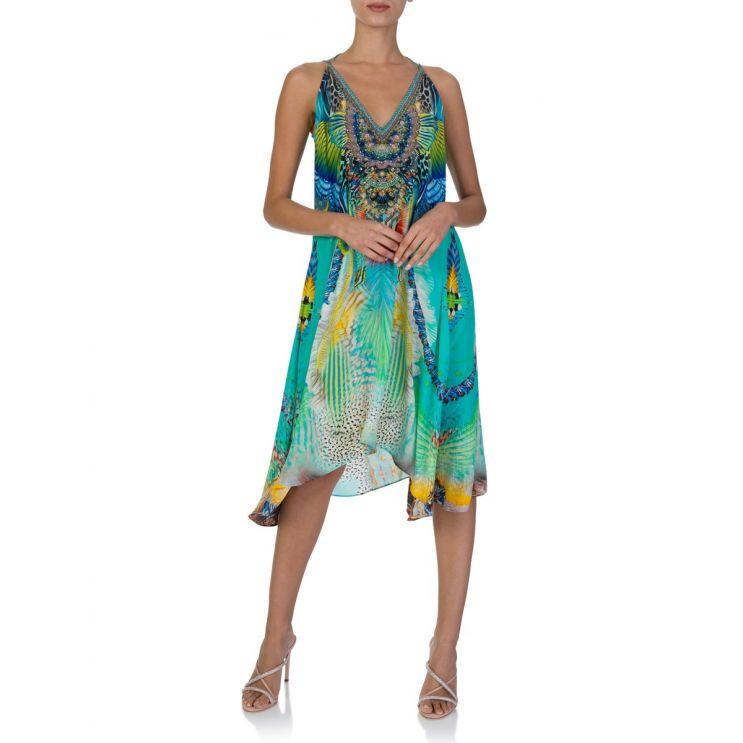 Camilla Blue Reef Warrior Strappy Flare Dress