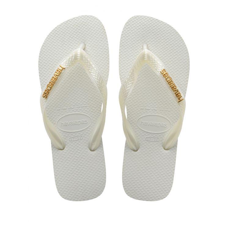 Havaianas White Logo Metallic Flip-Flops