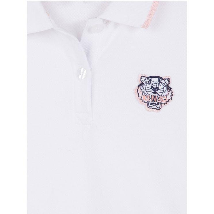 KENZO Kids White Pink Tipped Polo Shirt