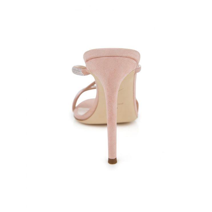 Giuseppe Zanotti Pink Croisette Crystal Mule Sandals