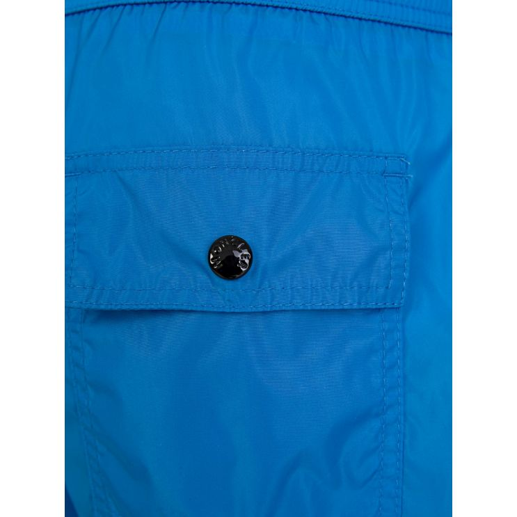 Moncler Enfant Blue Logo Swim Shorts