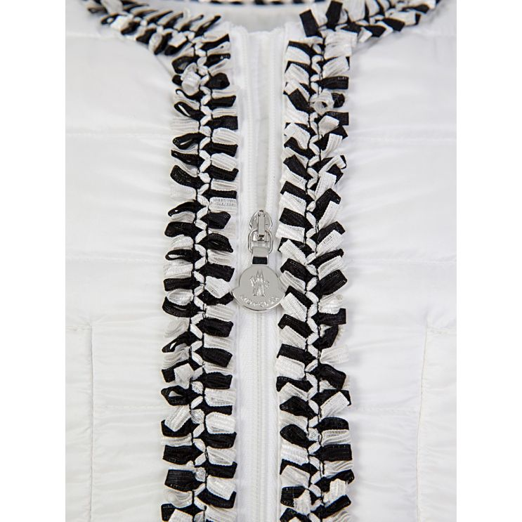 Moncler Enfant White Hiva Trim Down Filled Puffer Jacket