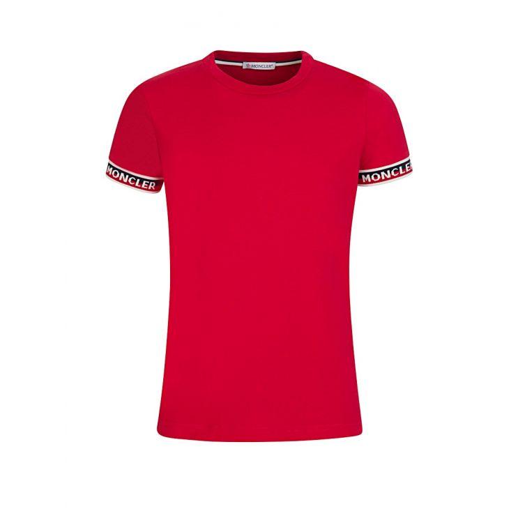 Moncler Enfant Red Pipped Logo T-Shirt