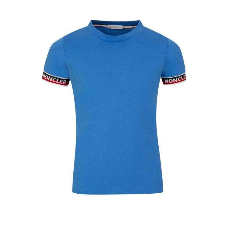 Moncler Enfant Blue Cuff Logo T-Shirt