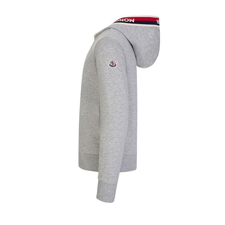 Moncler Enfant Grey Logo Zip-Through Hoodie