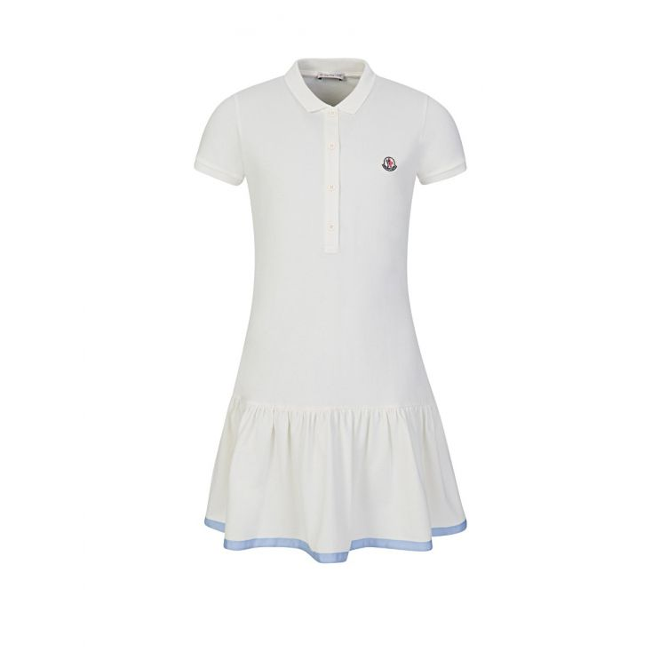 Moncler Enfant Cream Frilly Polo Dress