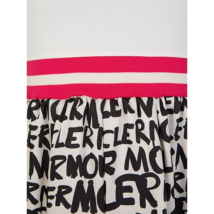 Moncler Enfant White Graffiti Dress