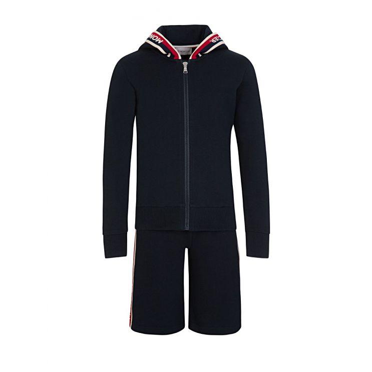 Moncler Enfant Navy Logo Jersey Shorts