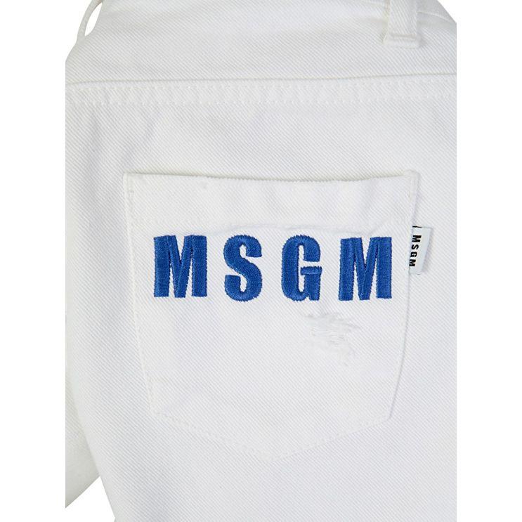 MSGM Kids White Back Pocket Logo Denim Shorts