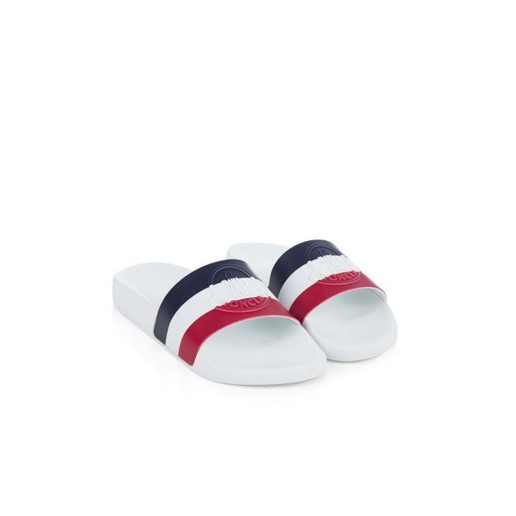 Moncler White Flag Sliders