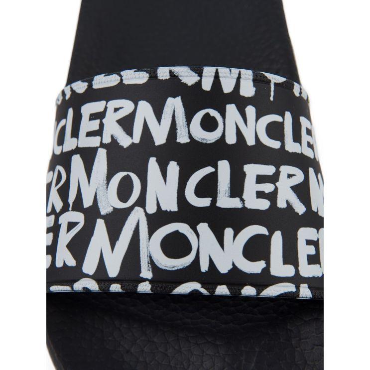 Moncler Black Logo Sliders