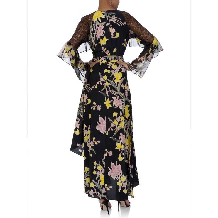 Diane Von Furstenberg Black Floating Bouquet Dress