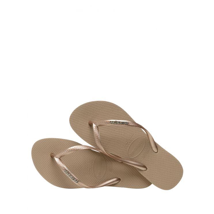 Havaianas Gold Sand Slim Metallic Logo Flip-Flops