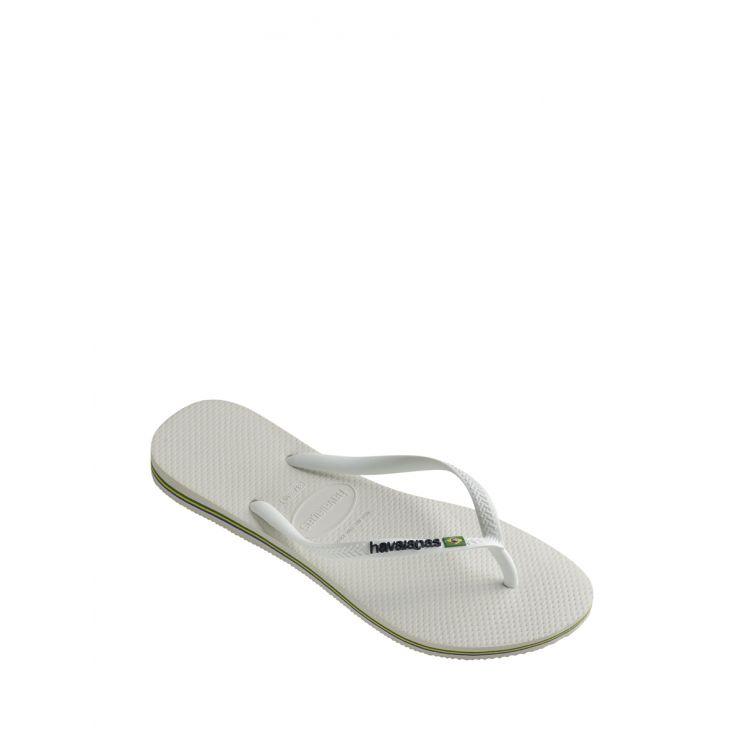 Havaianas White Slim Brazil Logo Flip-Flops