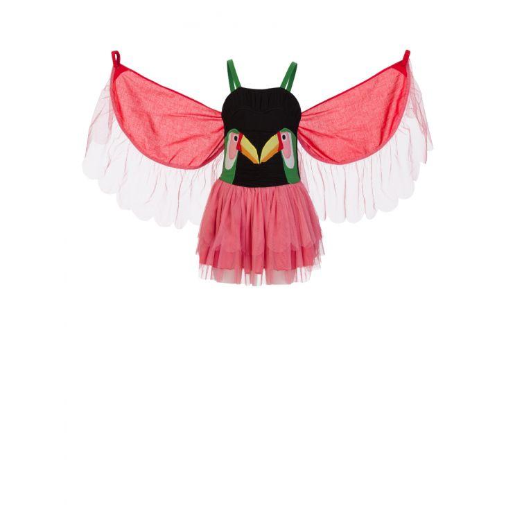 Stella McCartney Kids Black/Pink/Red Toucan Patch Dress