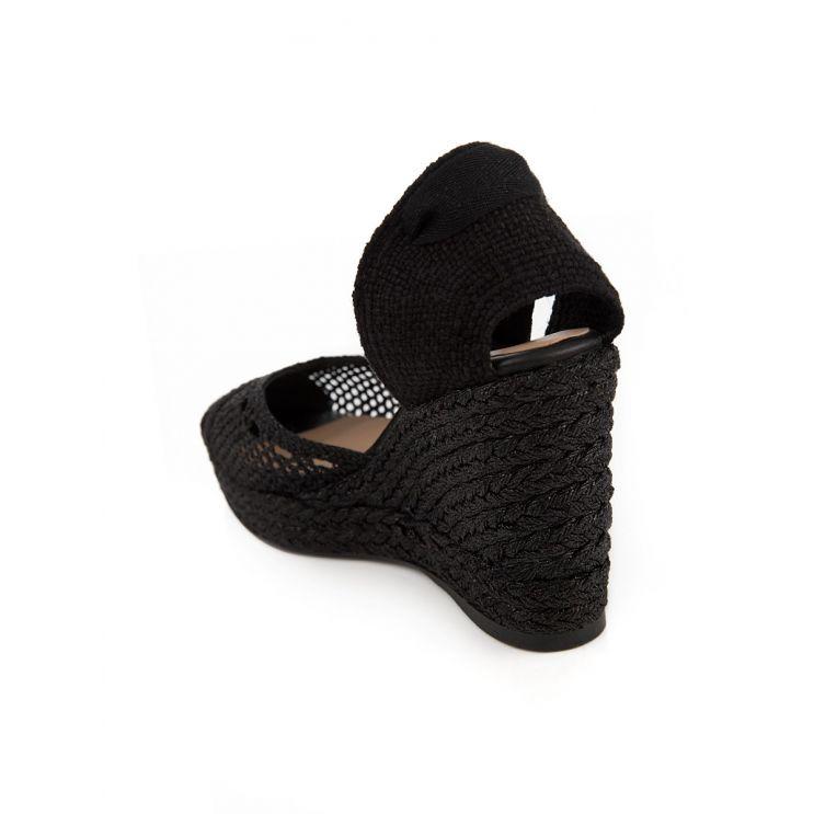 Castaner Black Carrie Fabric Wedge Espadrilles