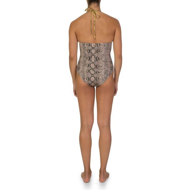 Stella McCartney Cream Snake Print One Piece Swimsuit