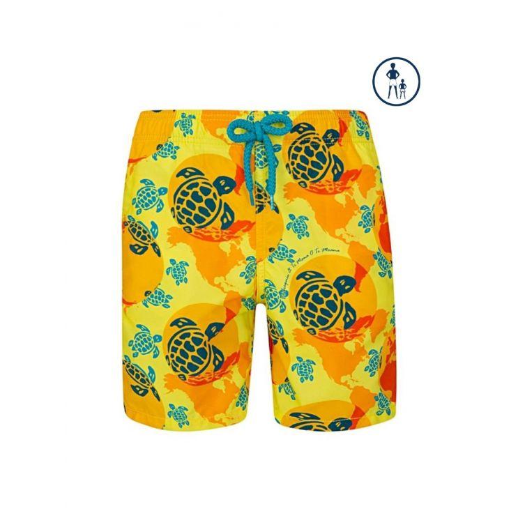 Vilebrequin Junior Yellow 'Worldmap' Swim Shorts