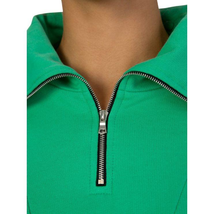 Cotton Citizen Green Milan Zipped Polo Sweatshirt