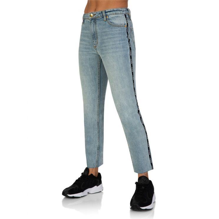 P.E Nation Stonewashed Blue Denim Driver Jeans
