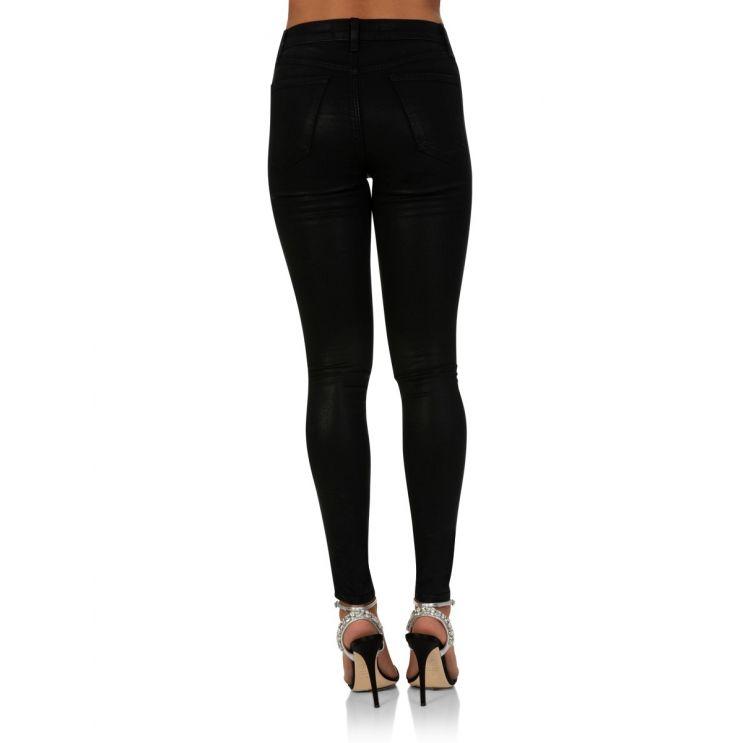 J Brand Black Coated Vendetta Lace-Up Jeans
