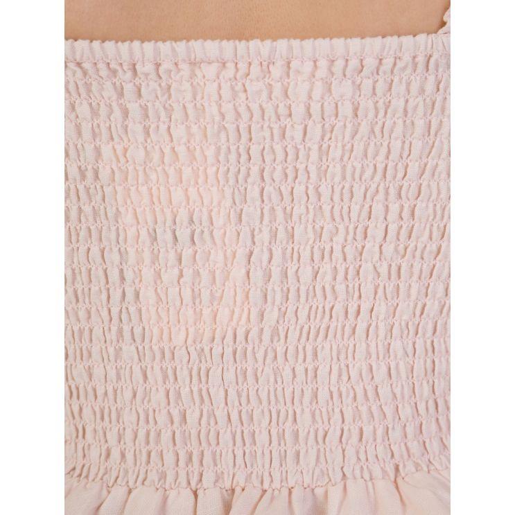 Tigerlily Pink Apolline Shirred Frill Crop Top